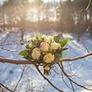 Hochzeitsfotografie - Brautstrauss im kalten Januar im Schnee