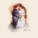 Das Brautpaar als Gemälde fotografiert
