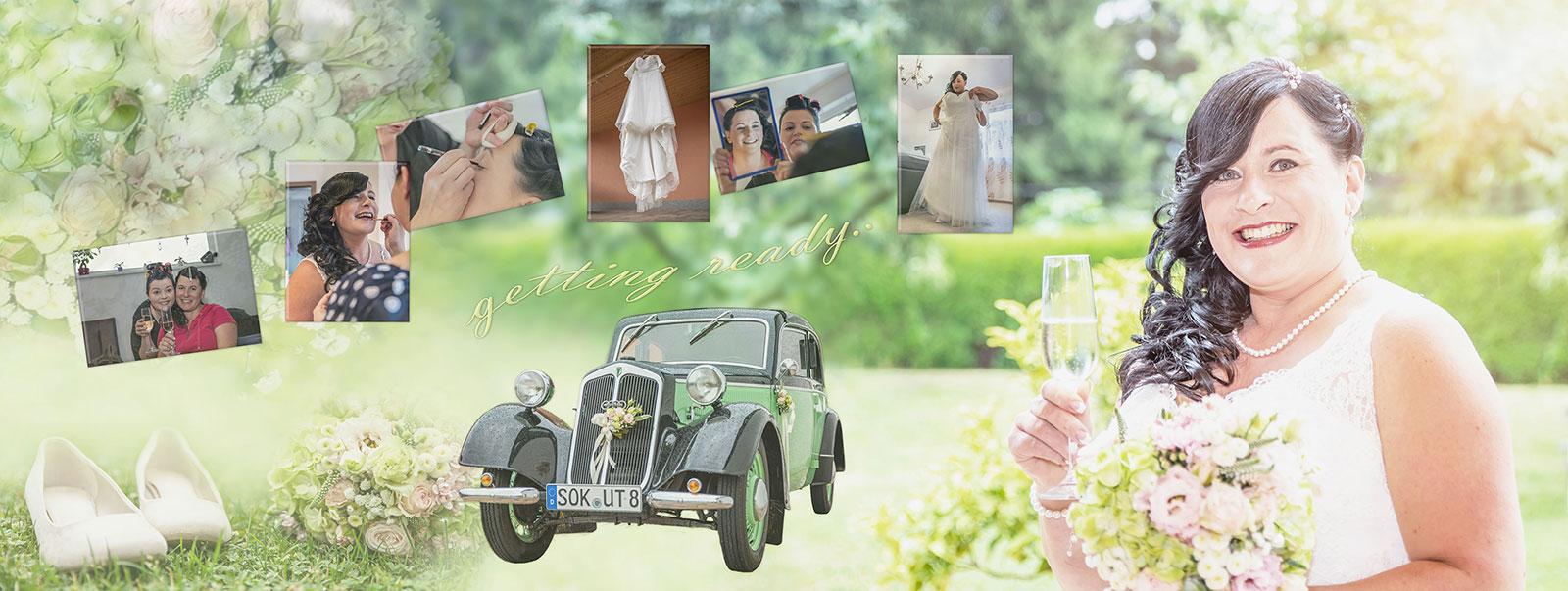 Panorama Fotobuch zur Hochzeit - getting ready der Braut in Bad Lobenstein
