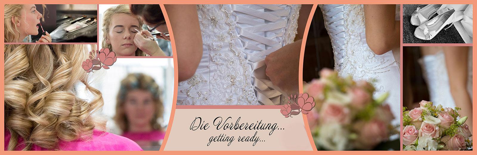 Panorama Fotobuch zur Hochzeit - getting ready der Braut in Bayreuth